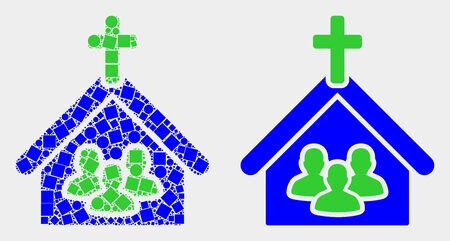 Dot and flat church people icons. Vector mosaic of church people formed with scattered square pixels and circle pixels.