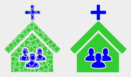Pixel and flat church people icons. Vector mosaic of church people combined of random square pixels and circle pixels.