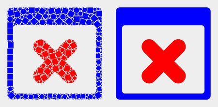 Pixel and flat close application window icons. Vector mosaic of close application window constructed of random square dots and round dots.