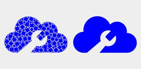 Pixel and flat cloud wrench icons. Vector mosaic of cloud wrench combined of random small squares and round dots.