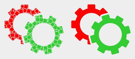 Dotted and flat cogs icons. Vector mosaic of cogs constructed of scattered small rectangles and round dots.