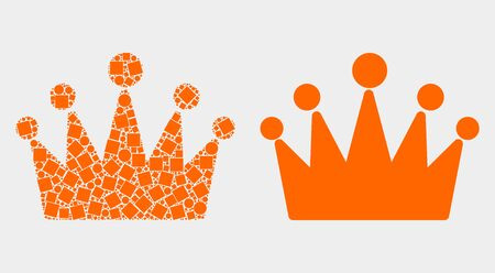 Dotted and flat crown icons. Vector mosaic of crown constructed of random rectangle elements and spheric pixels. Ilustração