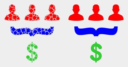 Dotted and flat customer sales funnel icons. Vector mosaic of customer sales funnel organized of irregular rectangle elements and circle elements.
