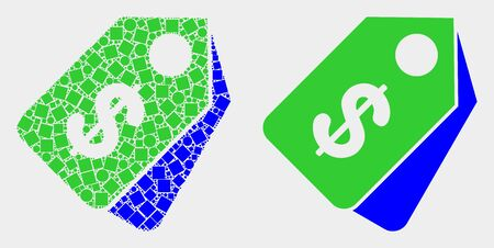 Pixel and flat dollar tags icons. Vector mosaic of dollar tags composed of randomized square dots and spheric points. Illustration