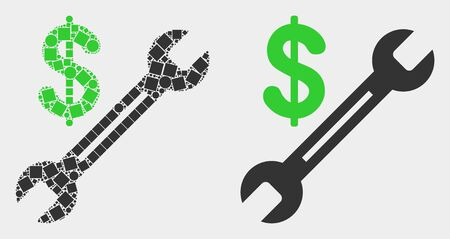 Dot and flat dollar wrench icons. Vector mosaic of dollar wrench organized of irregular rectangle elements and circle elements.