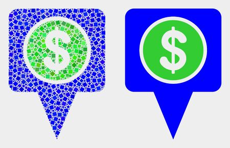 Dotted and flat dollar map marker icons. Vector mosaic of dollar map marker created of irregular dots and spheric dots.