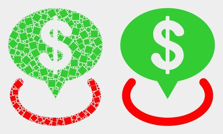 Pixel and flat dollar placement icons. Vector mosaic of dollar placement composed of irregular dots and round points.