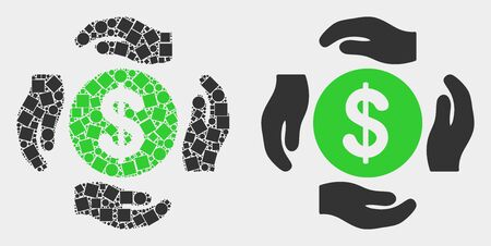Dot and flat dollar care hands icons. Vector mosaic of dollar care hands designed with irregular square dots and spheric dots.