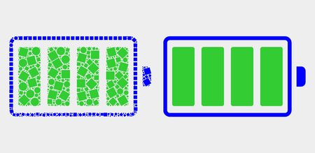 Dot and flat electric battery icons. Vector mosaic of electric battery designed of irregular square particles and spheric dots. Ilustração