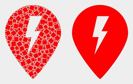 Dotted and flat electric map marker icons. Vector mosaic of electric map marker combined of random square dots and circle dots.