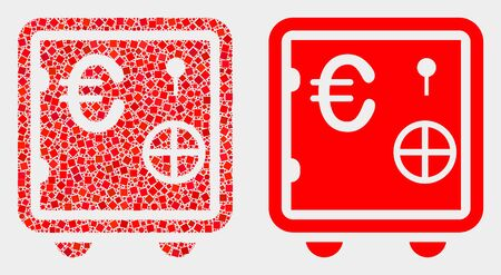 Dotted and flat euro banking safe icons. Vector mosaic of euro banking safe designed with randomized square elements and circle elements.