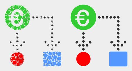 Dotted and flat euro cash flow icons. Vector mosaic of euro cash flow composed of random small rectangles and circle pixels.