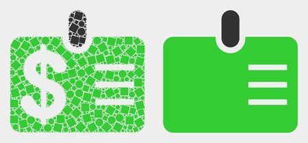 Dotted and flat dollar badge icons. Vector mosaic of dollar badge constructed of random square pixels and circle elements.