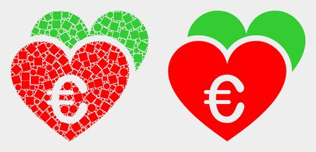 Pixel and flat euro love hearts icons. Vector mosaic of euro love hearts created of scattered square dots and spheric dots.