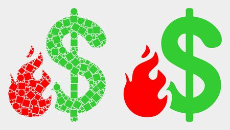 Dotted and flat dollar fire icons. Vector mosaic of dollar fire designed of randomized small squares and circle elements.