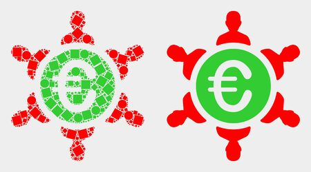 Dot and flat euro people union icons. Vector mosaic of euro people union created of irregular square dots and circle dots.