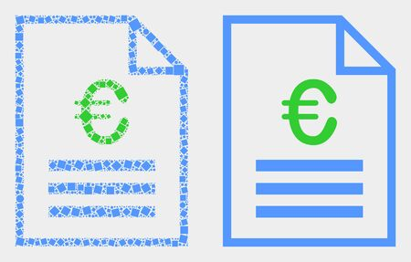 Dot and flat euro price page icons. Vector mosaic of euro price page formed of scattered square dots and spheric dots. Ilustração