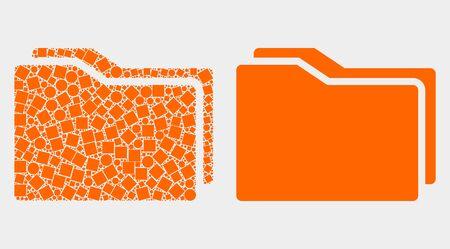 Dot and flat folders icons. Vector mosaic of folders composed of irregular square pixels and spheric pixels. Ilustração