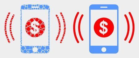 Pixel and flat financial smartphone vibration icons. Vector mosaic of financial smartphone vibration organized of random dots and round items. Иллюстрация