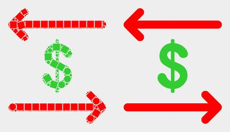 Dotted and flat dollar exchange arrows icons. Vector mosaic of dollar exchange arrows created of irregular rectangle elements and circle elements. 向量圖像