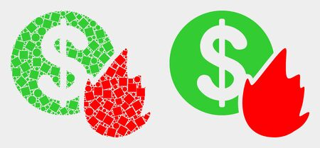 Pixel and flat fired money icons. Vector mosaic of fired money formed of random square elements and round elements.