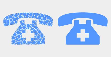 Pixel and flat first aid phone icons. Vector mosaic of first aid phone organized of random dots and spheric dots. Illustration