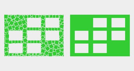 Pixel and flat grid cells icons. Vector mosaic of grid cells created of irregular dots and circle dots.