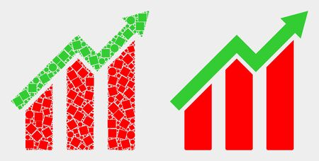 Dotted and flat growing trend chart icons. Vector mosaic of growing trend chart created of irregular square pixels and round items. 向量圖像
