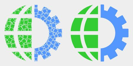 Dot and flat global industry icons. Vector mosaic of global industry designed of scattered square dots and circle dots.