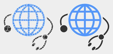 Dotted and flat global medical service icons. Vector mosaic of global medical service combined of irregular square pixels and round pixels.