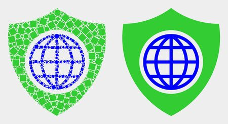 Dotted and flat global shield icons. Vector mosaic of global shield formed of irregular square pixels and circle elements. Illustration