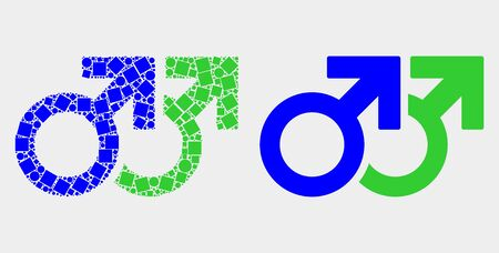 Dotted and flat gay pair symbol icons. Vector mosaic of gay pair symbol combined of random small rectangles and circle items.