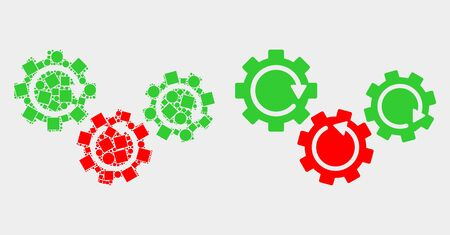 Pixel and flat gear mechanism icons. Vector mosaic of gear mechanism created of random square pixels and circle pixels.