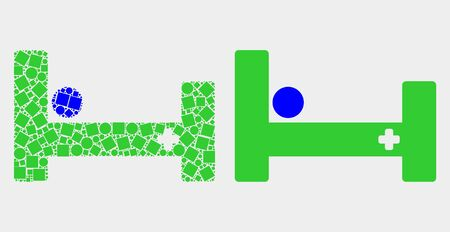 Pixel and flat hospital bed icons. Vector mosaic of hospital bed organized with random dots and spheric dots.