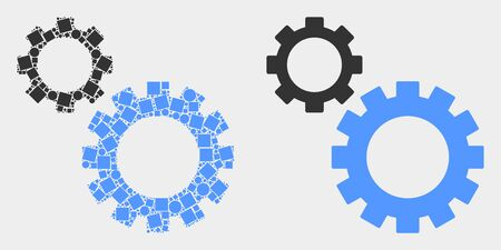 Pixel and flat gears icons. Vector mosaic of gears created of irregular dots and circle items.