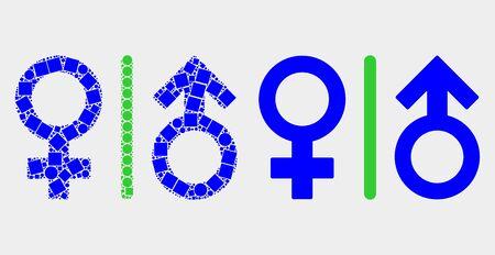 Dot and flat gender symbols icons. Vector mosaic of gender symbols designed of randomized dots and circle pixels. Ilustracja