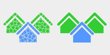 Dotted and flat houses icons. Vector mosaic of houses combined of scattered square dots and round elements.