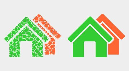 Pixel and flat houses icons. Vector mosaic of houses organized of irregular square elements and spheric elements. Ilustrace