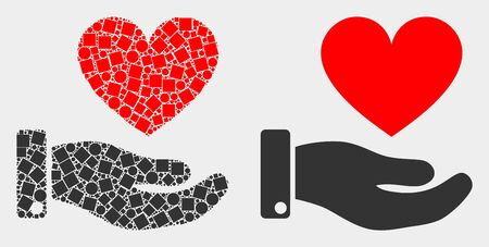 Pixel and flat heart donation hand icons. Vector mosaic of heart donation hand combined of random square pixels and round items. Ilustração