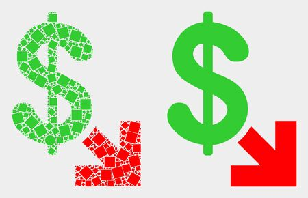Pixel and flat export dollar icons. Vector mosaic of export dollar designed of scattered square elements and circle elements. Ilustração