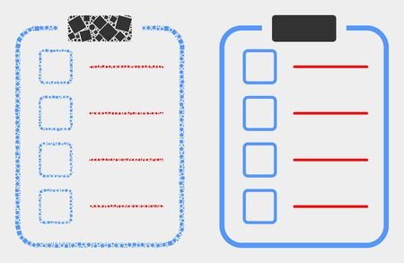 Pixel and flat list items pad icons. Vector mosaic of list items pad designed of irregular small squares and spheric dots. Stock Illustratie