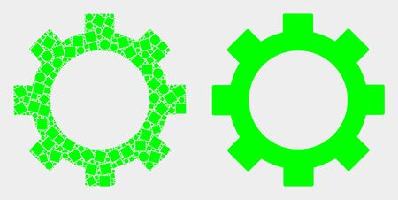 Dot and flat gear icons. Vector mosaic of gear composed of scattered rectangle elements and round elements. Ilustração