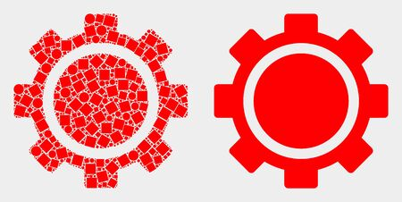 Pixel and flat gear icons. Vector mosaic of gear created of random square dots and spheric dots.