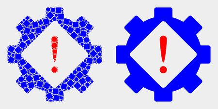 Pixel and flat gear warning icons. Vector mosaic of gear warning created of random square particles and round items.