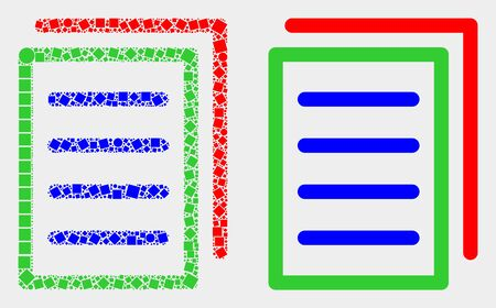 Dot and flat list page icons. Vector mosaic of list page formed of random dots and circle dots.