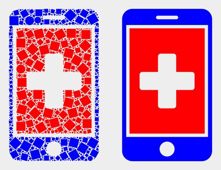 Pixel and flat medical mobile app icons. Vector mosaic of medical mobile app created of scattered dots and spheric dots. Ilustração