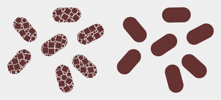 Dot and flat microbes icons. Vector mosaic of microbes combined of scattered small rectangles and circle elements.