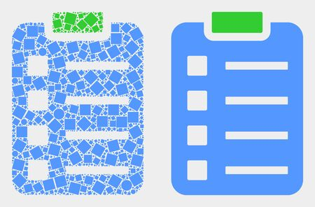 Dotted and flat items pad icons. Vector mosaic of items pad formed of random dots and spheric dots.