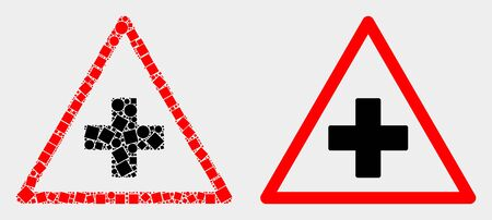 Dotted and flat medical warning triangle icons. Vector mosaic of medical warning triangle composed of random rectangle elements and circle elements.