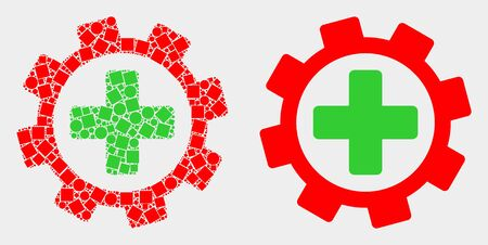 Dot and flat medical service gear icons. Vector mosaic of medical service gear formed of randomized square pixels and round pixels. Ilustração